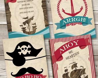 Pirate Birthday Posters (Set of 4), Pirate Posters, Pirate Birthday Prints, Pirate Party Printables