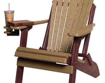 Recycled Poly Lumber Folding Adirondack Chair  - 2 Toned with Color Combinations - Amish Made in USA