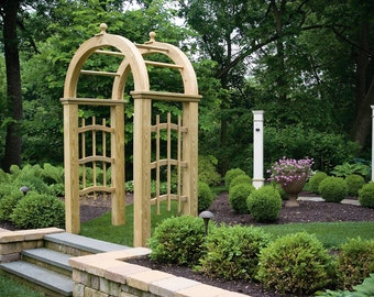DECORATIVE *UNFINISHED* Pressure Treated Pine Mt. Vernon Arbor 5ft Wide - Trellis Sides - Garden Entrance - Amish Made in the USA