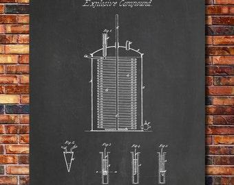 Dynamite Alfred Nobel Patent Print Art 1867