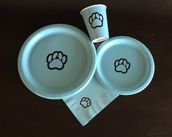 Paws Party Pack - Paws Plates - Dog Birthday - Pawprint Plates - Paw Print Party - Pets - School Mascot - Graduation Plates - School Pride