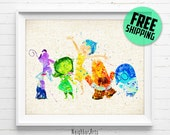 Disney, Inside Out, Poster, Watercolor Painiting, Wall Art Print, Kids Bedroom, Nursery Decor, Home Decor, Baby Shower Gift, 264