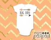 "Pregnancy Announcement ""Big Bro"" Big Brother Sibling Arrow Arrows Baby Bodysuit - White Bodysuit"
