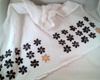 "Flower flour sack towel with stencil design - 28"" sq. - black and gold - pattern tea towel - hostess gift"