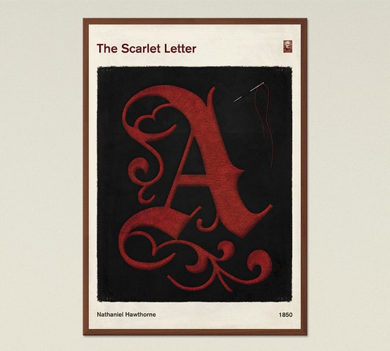 Modern Book Cover Letter : The scarlet letter large literary book cover print bookish