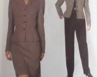 Vogue / Anne Klein 2047 Semi-fitted lined , above the hip Jacket  Pants and skirt