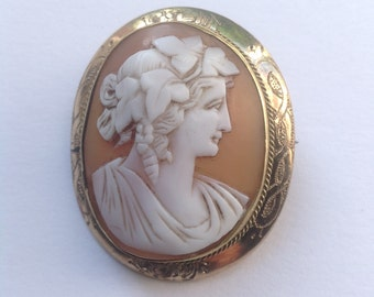 Antique, Victorian cameo brooch, genuine hand carved shell cameo in rolled gold mount.