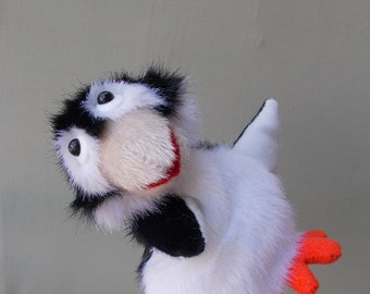 Funny little penguin. Bibabo. Toy glove. Marionette. Puppet theatre. Toy on hand.