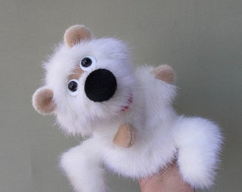 Little white bear. Bibabo. Marionette. Toy on hand. Toy glove. Puppet theatre.