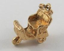 Three Wheeled Horseless Carriage 14 Karat Gold Vintage Charm For Bracelet