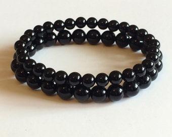 Black Onyx 2 Pack Gemstone Men's Stretch Bracelets 6mm & 8mm Stackable Homme Stacking Abundance Beaded Yoga Bracelets Men's Gifts