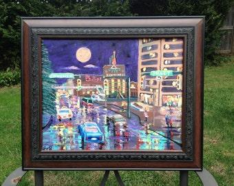 "Baltimore Rain Storm: Original Oil Painting on Canvas 20""x16"""