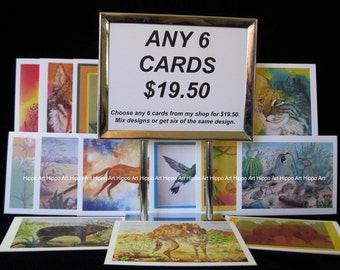 ANY 6 HippoArts CARDS