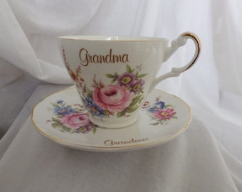 """Cup and Saucer Celebrating """"Grandma"""" by Argyle"""