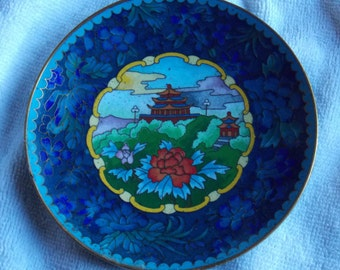 Asian Enameled Metal Designer/Collectible Plate
