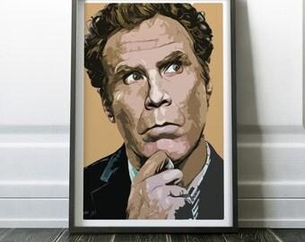 Will Ferrell Portrait - Modern Digital Art Print