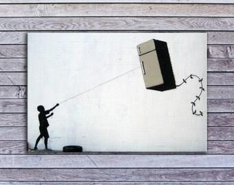 """Banksy, Fridge Kite (8"""" x 12"""") - Canvas Wrap Print"""