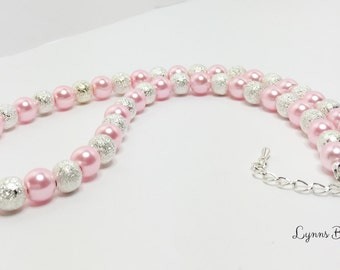 Pink Wedding Necklace Pink and Silver Bridal Jewelry Pink Beaded Necklace Bridesmaid Gift Pretty Pink Jewelry Set Mother of the Bride Gift