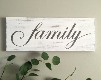 Family Sign (w/g) – Wood Wall Decor - Rustic Family Sign - Family Wood Sign - Rustic Wall Decor - Farmhouse Decor