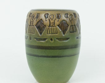 SALE! Julia Mattson UND Pottery Vase with Female Farmer Pattern Decor