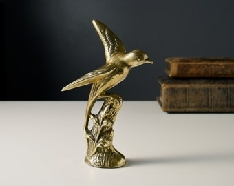 Brass bird on a tree stump figure. Vintage wildlife ornament. Cast metal statue. Wild bird study, outstretched wings. Home decor.