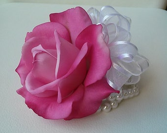 Ready to Ship Pink Wrist Corsage-Pink Rose Corsage-Prom Corsage-Homecoming Corsage-Silk Flower Wedding Corsage