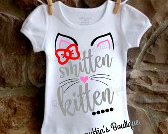 Smitten Kitten girls shirt, Girls cat shirt, Cat shirt, Girls shirt, toddler shirt, toddlers cat shirt, toddlers smitten kitten shirt