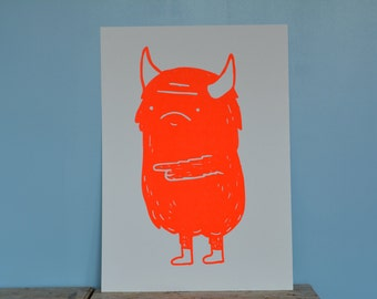 Monster screen print poster limited edition (A3, Neon Red) art print