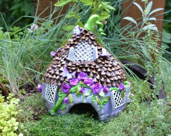 Fairy House or Toad house gourd polymer clay miniature