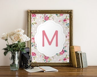 Floral letter nursery, Nursery wall art, Monogram print, Personalized nursery print, Printable floral letter, Floral wall art nursery BD-959