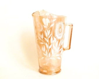 Vintage Glass Iridescent Peach Pitcher with Floral Design