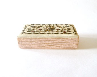 Vintage Pink and Gold Embroidered Jewelry Box
