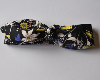 Girls Top Knot Headband - Floral Black