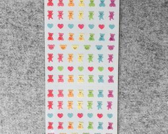 Cute small stickers - teddy bears & hearts