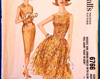 """Vintage 1963 easy to sew sleeveless dress slim or full skirt sewing pattern - McCall's 6766 - size 12 (32"""" bust, 25"""" waist, 34"""" hip) - 1960s"""
