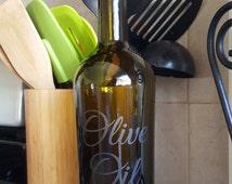 Etched Glass Olive Oil bottle