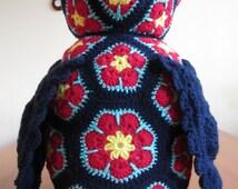 A Handmade Heidi Bears Design Aloysius Owl in African Flower Crochet
