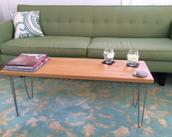 Modern Coffee Table / Bench with Stainless Steel Hairpin legs in Solid White Oak or Walnut