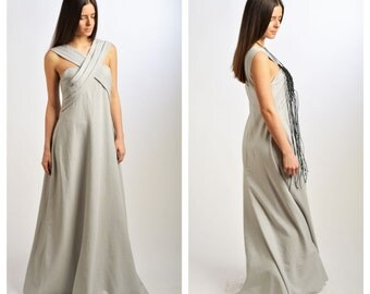 Maxi Dress/Grey Linen Dress / Extravagant Dress /Long Linen Dress / Plus Size Caftan  by Fraktura D0025