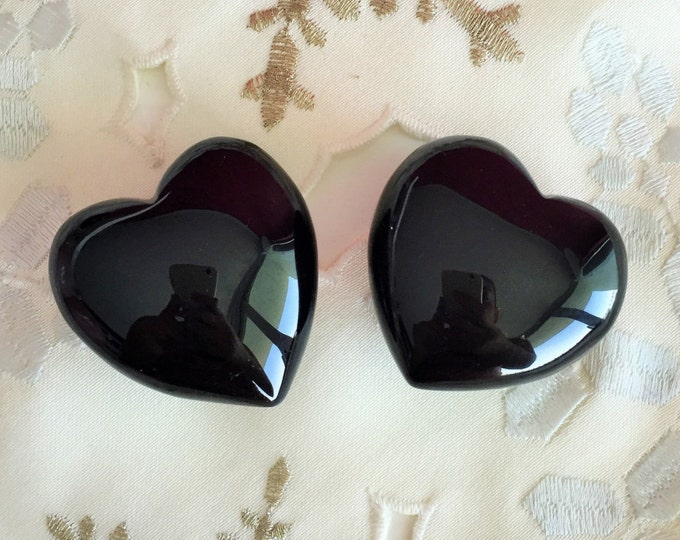 2 Obsidian Black Hearts / Protection Amulet / Puffy Hearts
