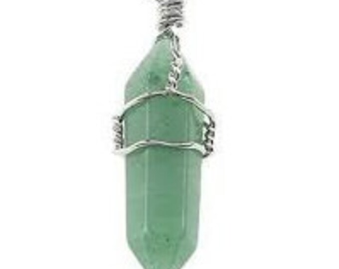 Wire Wrapped Crystal Pendant w/ Chain. Green Aventurine Healing Crystal Jewelry Set