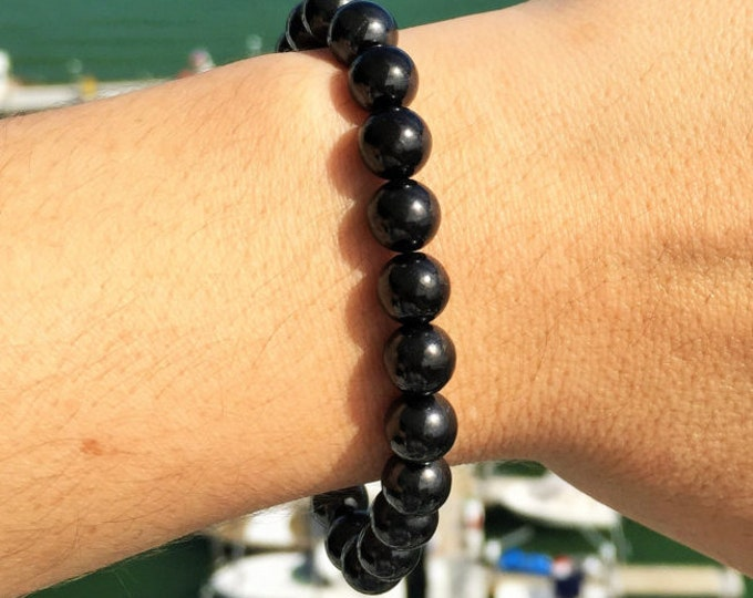 Shungite Bracelet Polished Beads- Protection Amulet Stones