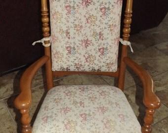 Beautiful Antique Pressed Oak Rocker w. Lovey Fabric