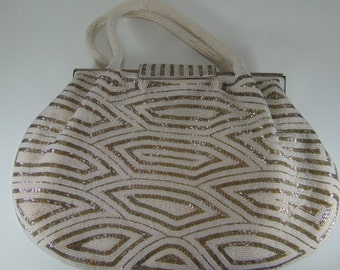 Vintage Ivory and Silver Beaded Purse, Bridal Purse, 1950's