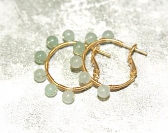 Tiny Wire Wrapped Aventurine Hoop Earrings, Gold Filled Hoop Earrings with Gemstones, Light Avenurine Earrings