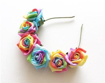 Rainbow Candy Flower Crown   Multicoloured Headband   Special Edition