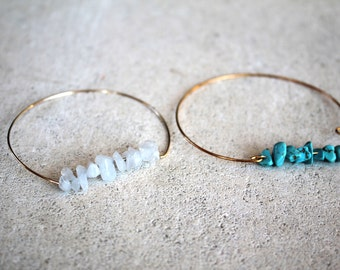 Bangle Bracelet thin gold plated or 925 sterling silver and turquoise beads or white agate