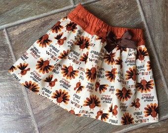 Turkey Skirt, Thanksgiving Outfit Baby Girl, Thanksgiving Skirt, First Thanksgiving Outfit, Toddler Turkey Skirt, Gobble Gobble, Handmade