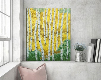 Landscape Birch tree Palette knife Painting, Acrylic Impasto, Texture Aspen Forest Painting, Modern Contemporary wall art, Birches