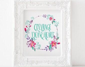 Courage, dear heart - C.s. Lewis - Printable print, catholic print, literature print, christian print, catholic decor, catholic art